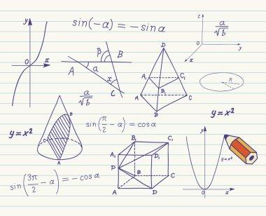 Mathematics sketches on school board