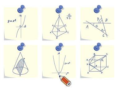 Mathematics and geometry icons on yellow memo sticks