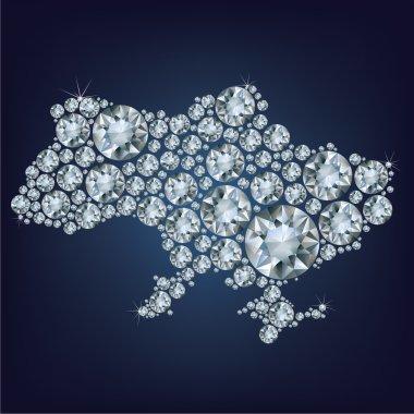 Vector illustration map of Ukraine made from diamonds