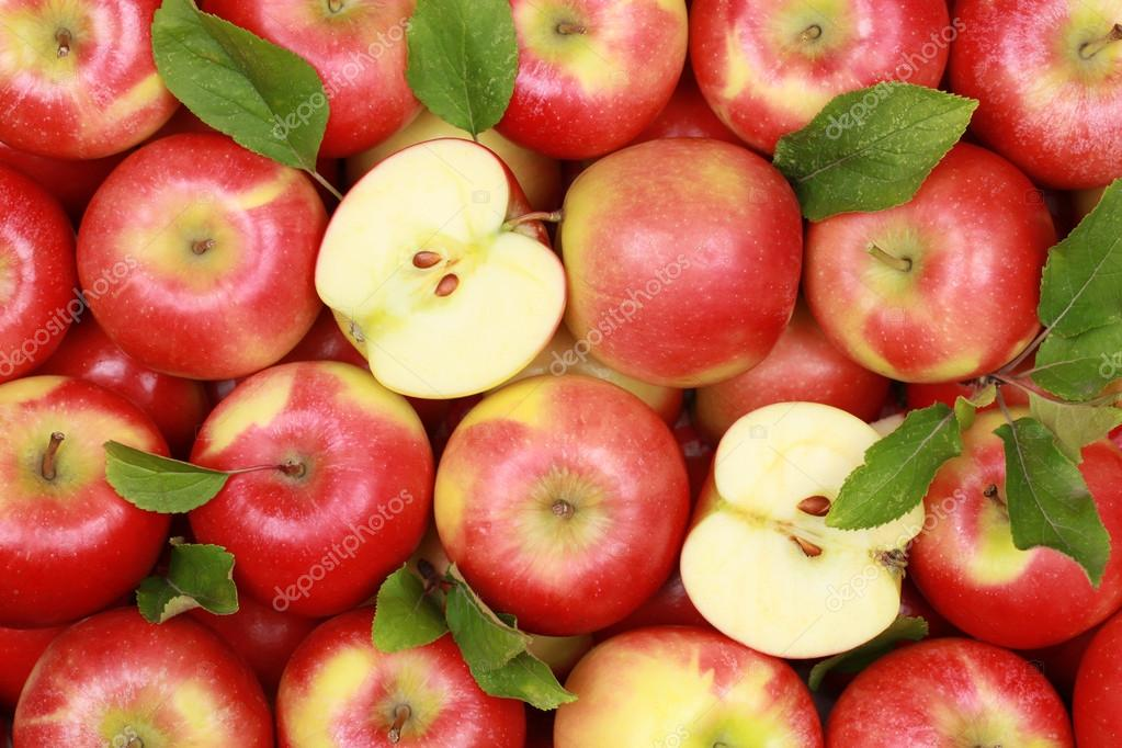 Κόκκινα μήλα με φύλλα — Φωτογραφία Αρχείου