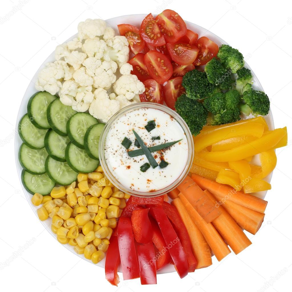 Voorkeur vegetarische groenten plaat met yoghurt dip — Stockfoto #DS14