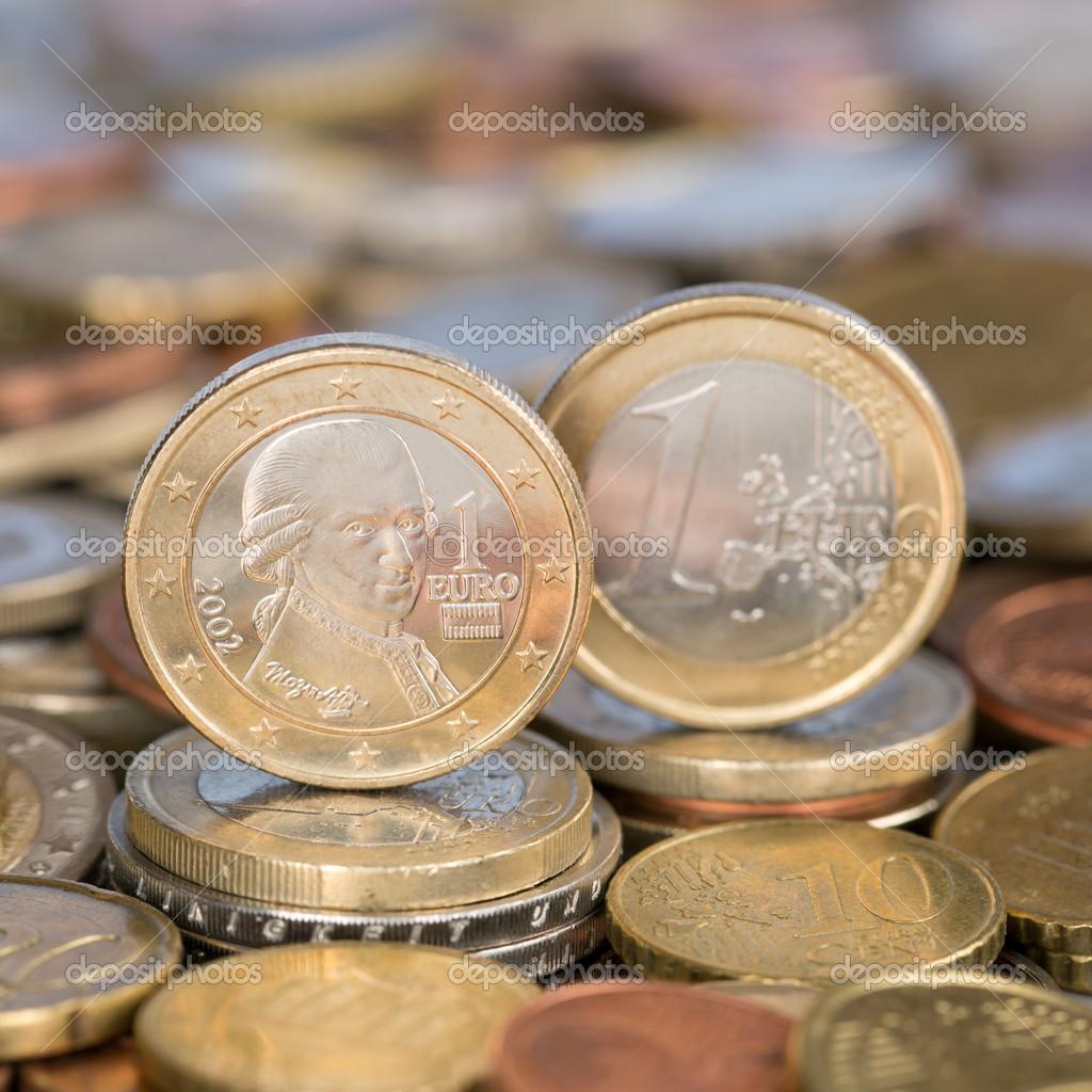 En Euro Mynt österrike Mozart Stockfotografi Boarding2now 48645091