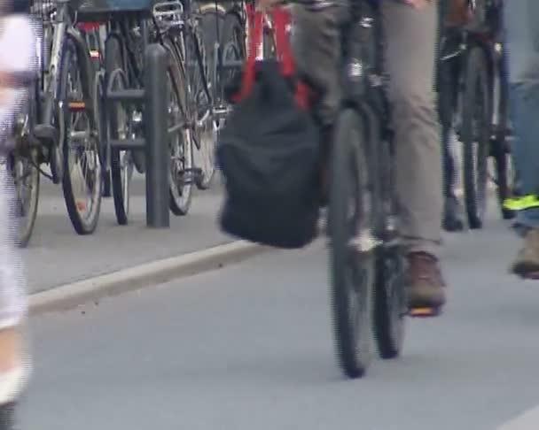 mnoho cyklistů jezdí různé kola na vyhrazená cyklostezka.