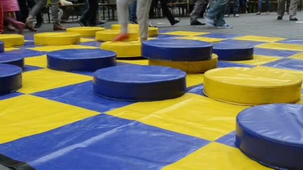 Kid play checker big
