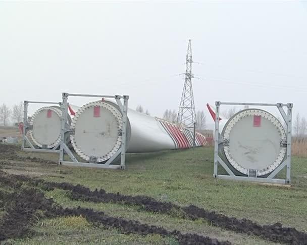 Huge windmill wings ready constructing. renewable technologies.