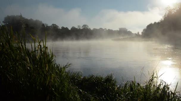 sunrise river water fog