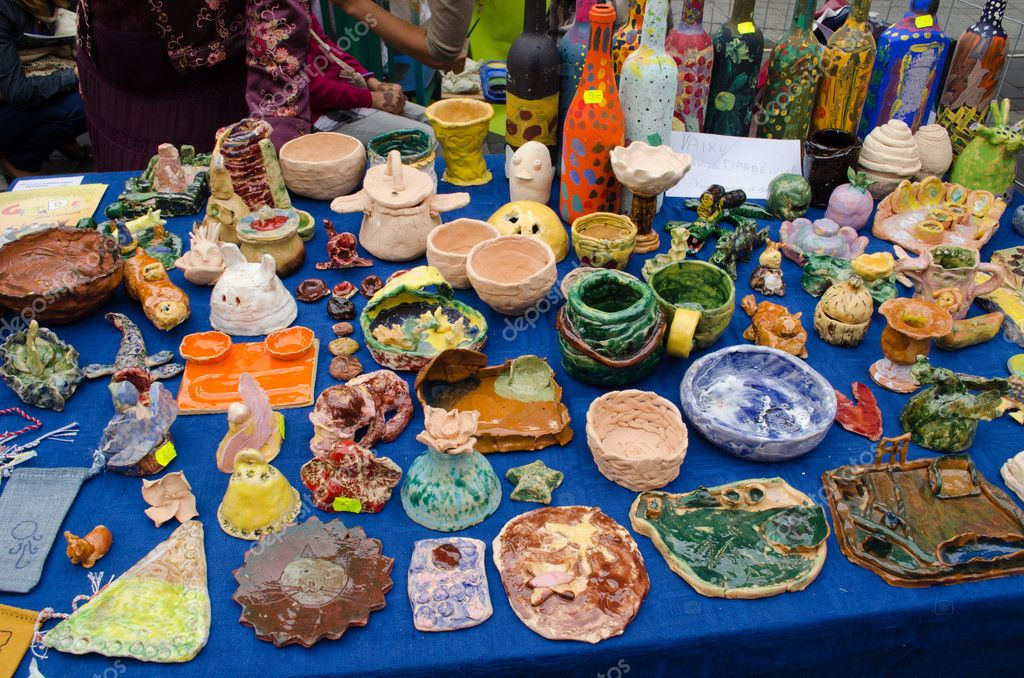 Clay crockery kid craft wares outdoor fair — Stock Photo ...