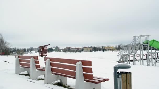 panorama colorful beach children playground toys winter snow
