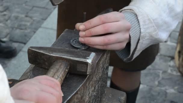 Woman blacksmith apparel decorations iron hammer chisel tool