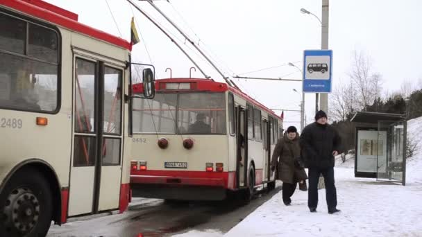 public transport trolley flags national holiday stop snow