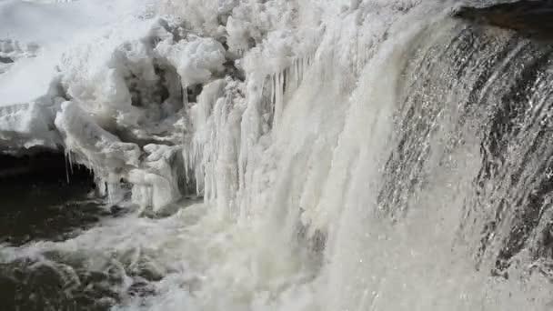 zmrazené zimy řeky vodopád vody closeup šelest zvuk