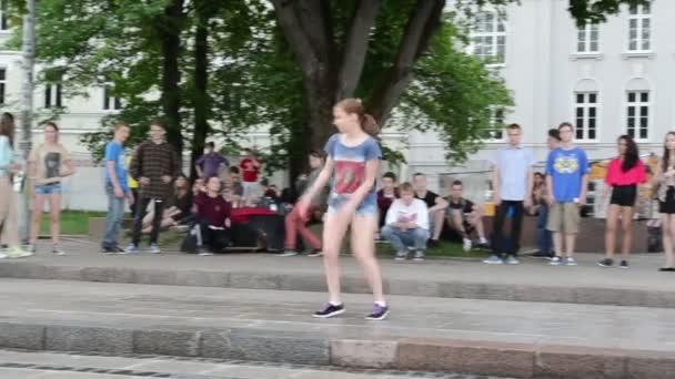 Young girl dance street