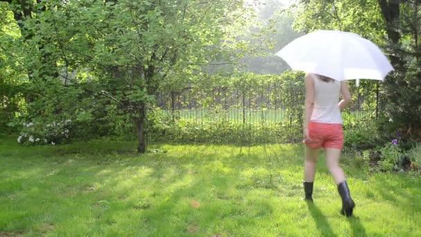 žena déšť boty deštník