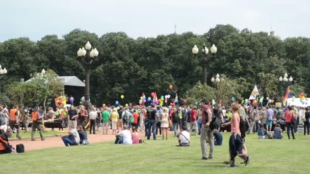 Crowd gay parade flag
