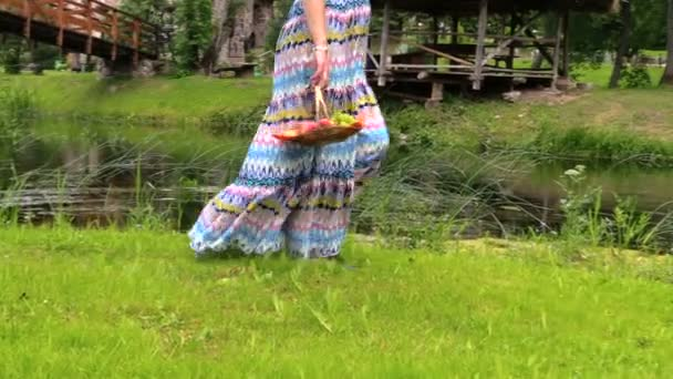 lány terhes nő hordoz kosár friss gyümölcs folyó közelében