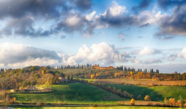 Early morning on Tuscany - countryside, Italy, Europe stock vector