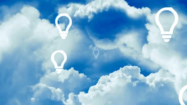 myšlenka žárovky na modré obloze. koncepce