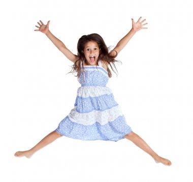 Jumping screaming girl