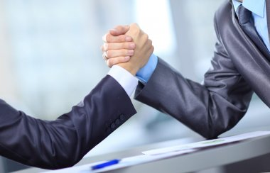 Two businessmen press hands each other on a forward background stock vector