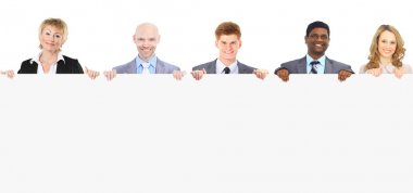 Group of young smiling business people. Over white background