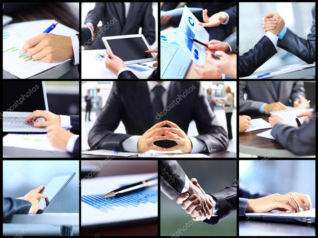 collage of businesswoman hands working with touchpad and papers in office photo by albertyurolaits