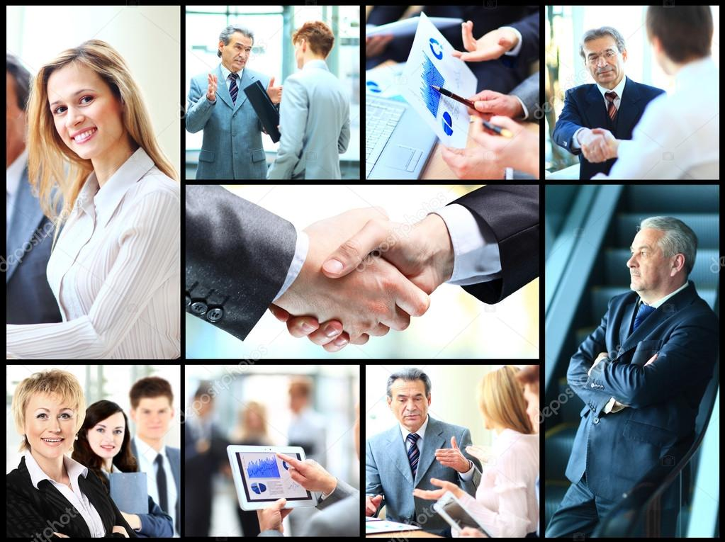 Collage of photo young people working together in business