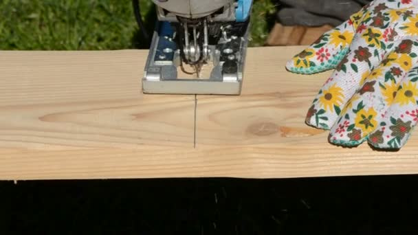 Cut with electric saw wooden plank