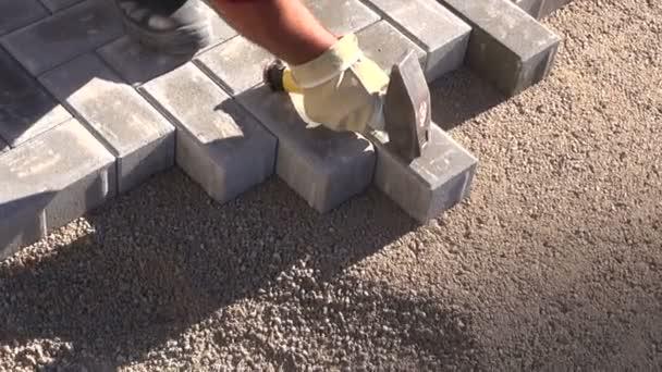 worker making sidewalk pavement with stone bricks