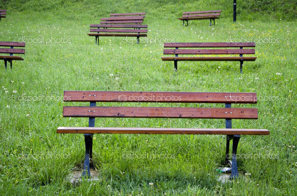 Holzbänke auf Gras im park — Stockfoto © alisbalb2 #43013131