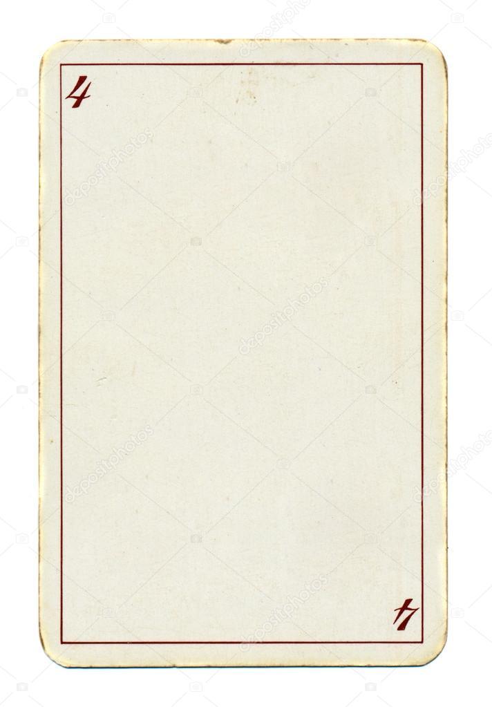 leere Spielkarte Papierhintergrund mit vier 4 und — Stockfoto ...