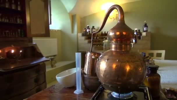 Historical perfume and cosmetics laboratory in museum