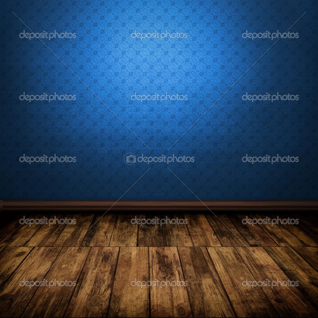 Intérieur De La Chambre Bleu Vintage Noire Avec Plancher En Bois U2014 Image De  Attila445