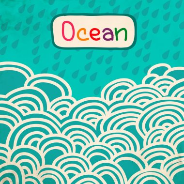 Blue Wave ocean cartoon retro background