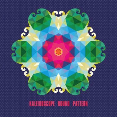 Kaleidoscope geometric dark pattern. Abstract vector background