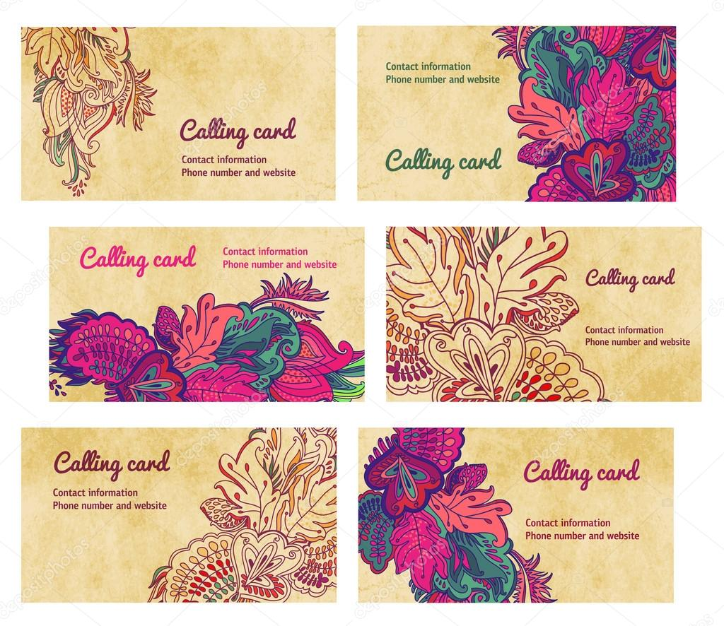 Colorful Horisontal Business Cards template. vector floral ...
