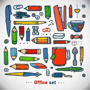Business office set, vector. school and office illustration
