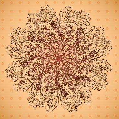 Ornamental round floral lace pattern. Lovely floral pattern, mandala.