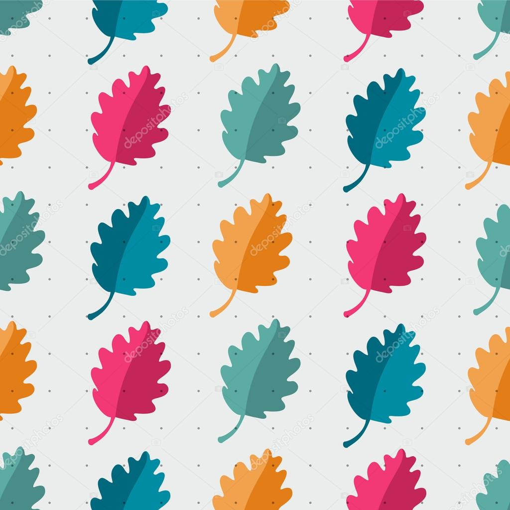Autumn abstract oak leaf vector seamless pattern. bright colors for fabric, web, print. rainbow and polka dot