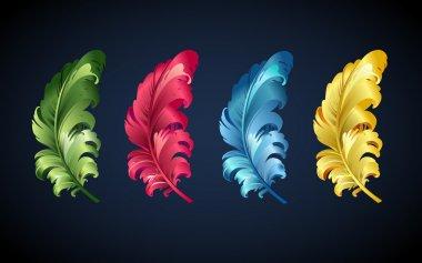 vector colorful feathers of sprind bird