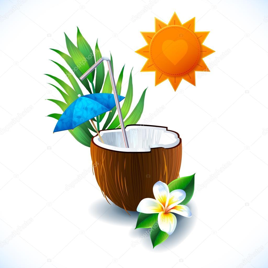 Travel colorful tropical sun design. coconut cocktail
