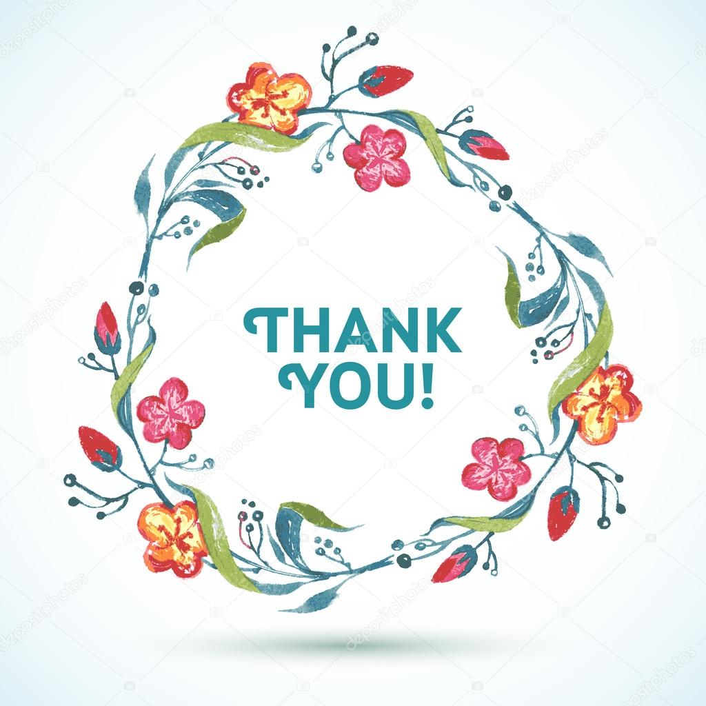 THANK YOU watercolor floral wreath