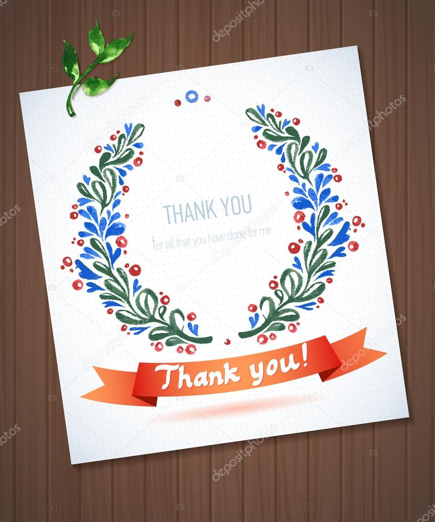 THANK YOU watercolor floral wreath with ribbon