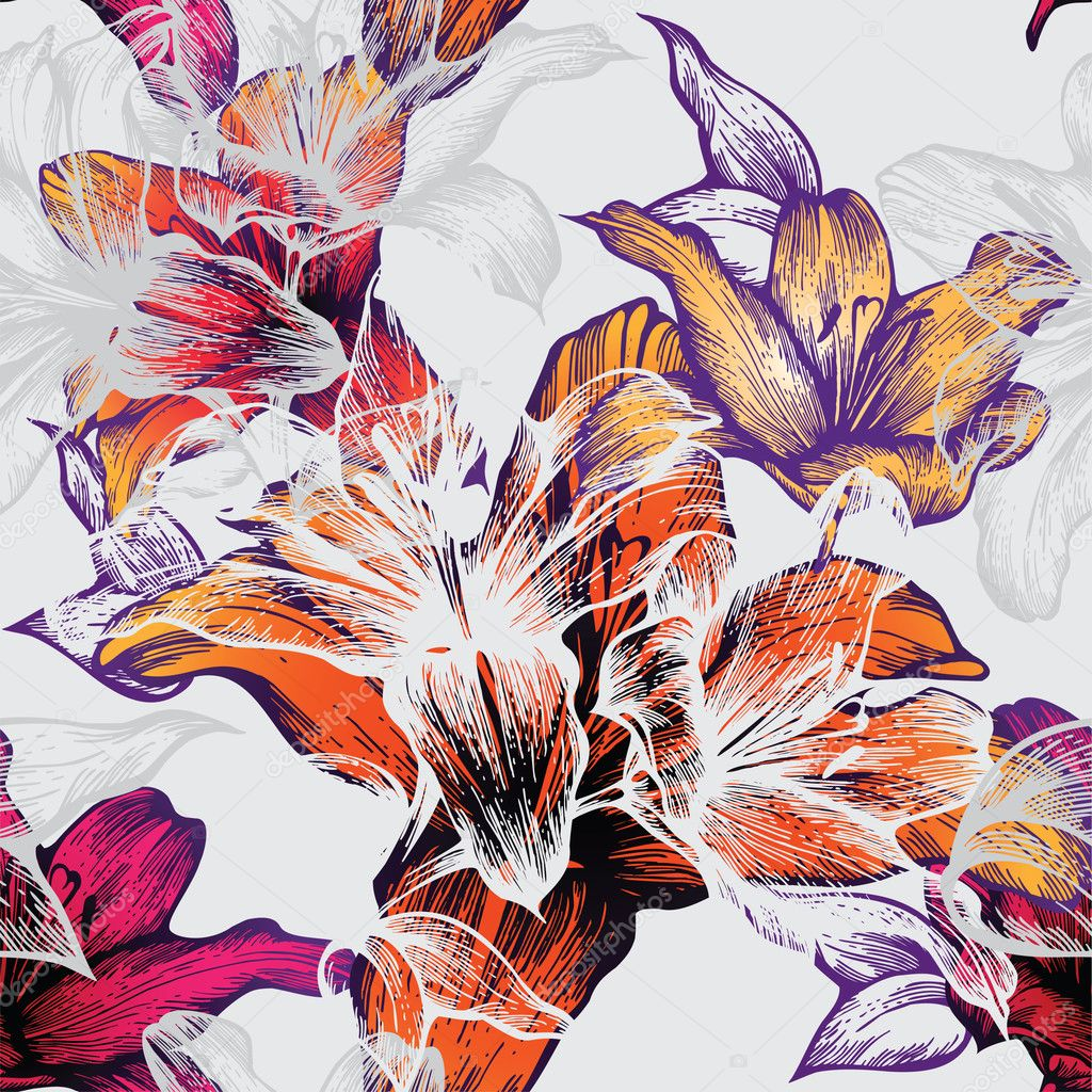 Seamless pattern with blooming lilies, hand-drawing. Vector illustration.