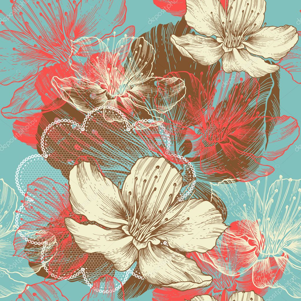 Seamless floral background with flowers apple, hand drawing, vector.