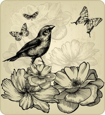 Background with blooming roses, birds and flying butterflies. Ve