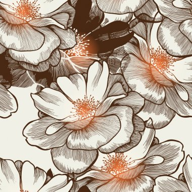 Glamour seamless wallpaper with blooming roses. Vector.