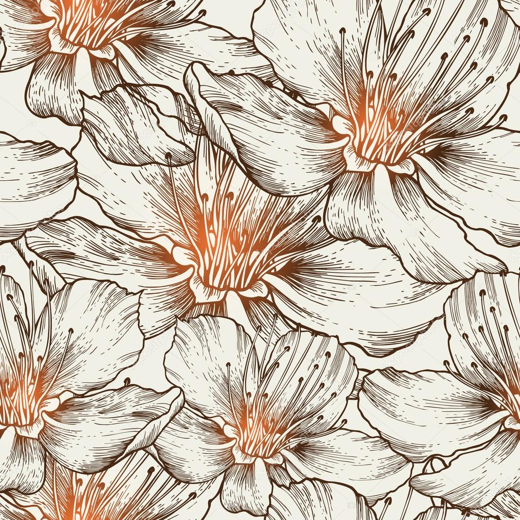 Glamorous seamless background with blooming flowers, hand drawin