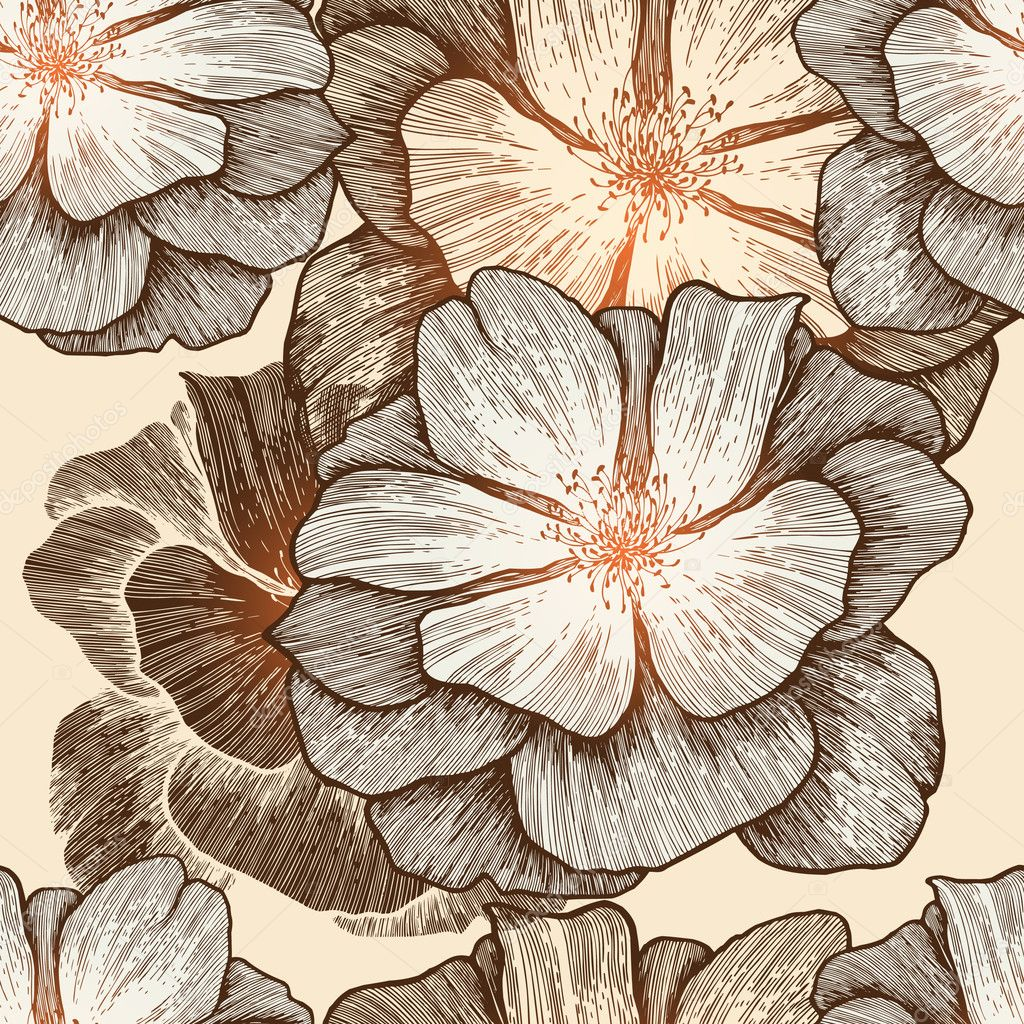 Glamour seamless wallpaper with wild roses, hand-drawing. Vector