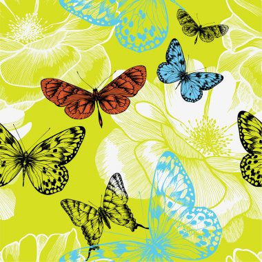 Seamless pattern with blooming roses and flying butterflies. Vec