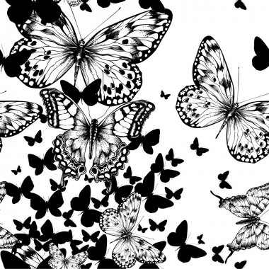 Seamless pattern with flying butterflies, hand drawing. Vector i